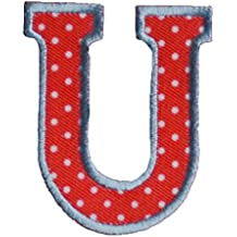 U Red White ABC letter 9cm big for names crafts jeans clothing fabric to iron on cap jacket neckerchief ceiling flag pants plate backpack trousers cushion scarf bunting bag hat door hat skirt dresses to personalise gifts for embroidered sports football baby baptism club city girl personalized decoration personal application mend wall applique personalise arts sewing decorating wall personalise idea idea iron on patches creative craft sew on birth decorating toddler motifs sewing gift room