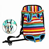 YAWJ Pet Puppy Hund vorne Tasche Pack Rucksack für kleine Hunde tragbar für Outdoor Reisen Wandern Robuste Angenehmes Segeltuch Stoff Kopf Out Design (Color : Colored Stripes, Size : XL)