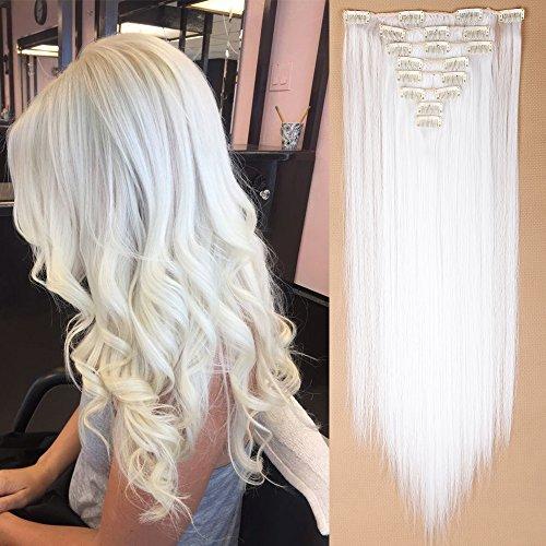 "TESS Clip in Extensions wie Echthaar Haarteil günstig 8 Tressen 18 Clips Haarverlängerung Glatt Weiß 26""(66cm)-140g"