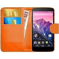 Funda Nexus 5, G-Shield Carcasa Libro de Cuero Con Tapa y Cartera [Ranuras para Tarjetas] [Cierre Magnético] Funda Billetera Case Cover Para LG Google Nexus 5 - Naranja