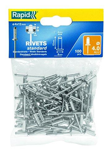 Rapid Blindniete Standard Aluminium, 100 Stück, 4 x 12 mm, 5000379 (Tooling Stück Leder)