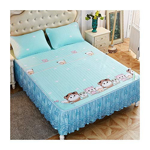 Nwn Tencel Mat Bed Skirt Bettdecke DREI Sätze Bettgarnituren Ice Silk Slip Einzelstück Mit Spitze Spitze Sommer Sommer (Color : C, Size : 200 * 220cm)