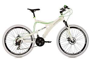 """KS Cycling Top Spin VTT tout suspendu 26"""" Blanc/Vert TC 51 cm"""