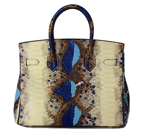 Tibes echtes Leder Serpentin Taschen Dame Schulterkuriertaschen Handtasche lässig Hobos Einkaufstasche Blau