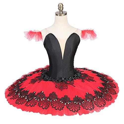 QSEFT Professionelle Tutus Rot Schwarz Pfannkuchen Ballett Kostüme -