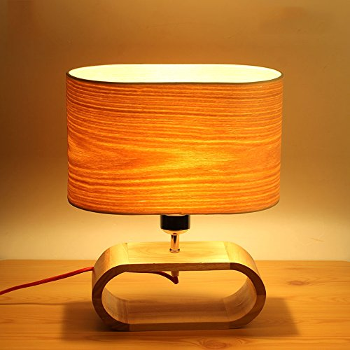 LZDHY Dormitorio Moderno Moderno Lámpara de Mesa de Cama Lámpara de Lino de Roble Sombra de Madera Sólida Estudio Navidad Luces de Escritorio de Regalo de Halloween ( Size : Style A )