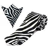 Zebra Black Tie And Pocket Square Set