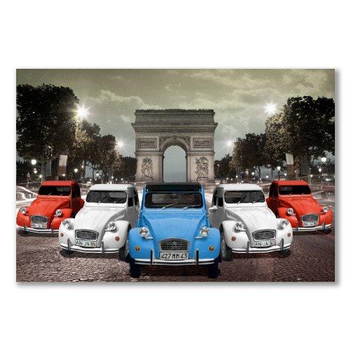 """Affiche : ARC DE TRIOMPHE, PaRIS et Citroën 2CV drapeau DE la FRANCE """"bleu blanc rouge (grand format 61 x 91.5 cm (24 x 36 en Papier semi-brillant, satiné)"""