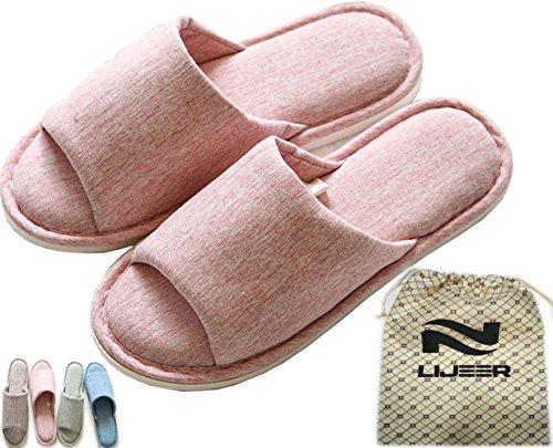 Lijeer Hausschuhe Damen Plüsch Memory Foam Waschbare Frottee Slipper Rutsche Indoor Pantoffeln Slides Rosa EU 36-37 (Plüsch Frottee)