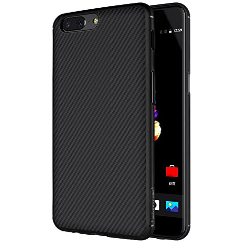 Sanchar's For Oneplus 5 Case, Nillkin Synthetic Fiber Premium Bumper Slim Case Back Cover [Compatible with Magnetic Phone Holder] For Oneplus 5 / One plus 5 / 1+5 - Black