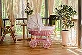 ComfortBaby ® HOME XXL Baby Stubenwagen - komplette 'all inclusive' Ausstattung - Zertifiziert & Sicher (Rosa - Weiss)