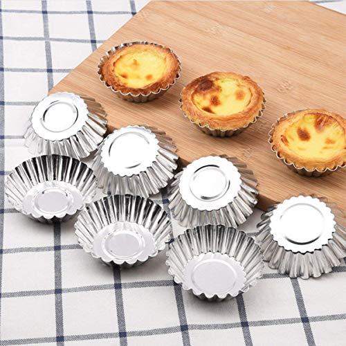 ADESUGATA 32 Stück Cupcake Kuchenform, Pudding Formen, Kuchen Muffin Formen, Aluminium Eierkuchen Cupcake Kuchen Cookie Blume geformte Form Pudding Mold Küche wiederverwendbare Backen Werkzeuge