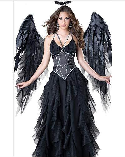 WXFC Damen Halloween Kostüm, Sexy Engel Kostüm, Schwarzer Engel Kostüm, Halloween Party, Party, Bühnenkostüm