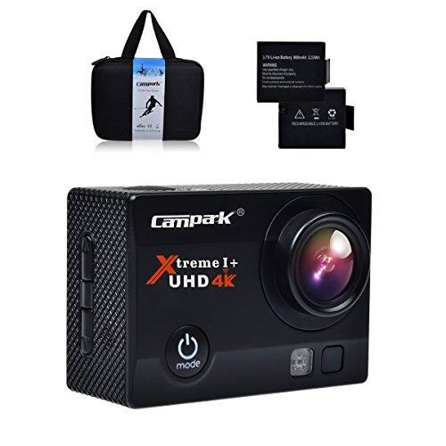 Action Cam, Campark 4K Action Camera 16MP Ultra HD WIFI Impermeabile Sport Camera 170° Grandangolare con due Batterie e Kit Accessori con Pacchetto Portatile