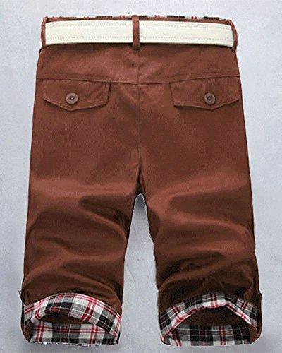 Pantaloncini Corti Bermuda Cargo Short con Tasche Plaid Pieghe Ginocchio Lunghezza Caffè