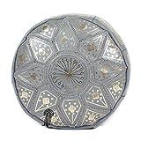 Medina Souvenirs Pouf fassi en Cuir Cuir Gris, pouffe marocain en Cuir veritable Fait Main