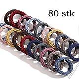 DAHI Haargummis 80stk Zopfgummis Elastische haarband haargummi in 10 farben (welle)