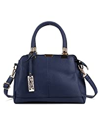 Sally Young Women Handbag Leather Briefcase Shoulder Bag Tote Purse Ladies Messenger Satchel - Blue