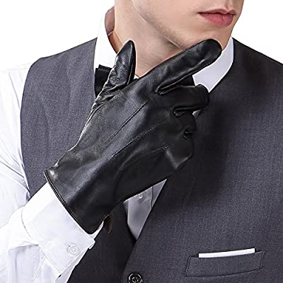 Harrms Herren Winter Handschuhe aus Echtem Leder Touch Screen Gefüttert aus Kaschmir Lederhandschuhe