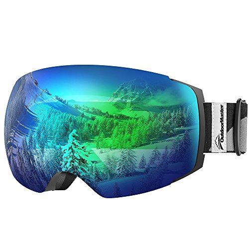 OutdoorMaster Skibrille Pro für Damen&Herren, Snowboardbrille mit magnetisch wechselsystem, OTG Schneebrille, Ski Goggles(Schwarzer Gurt VLT 18% Graues Gläser mit vollem REVO Grün&Schutzhülle) (Oakley Flight Deck Goggle-linse)