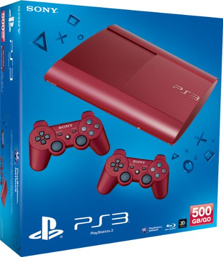 PlayStation 3 - Konsole Super Slim 500 GB rot (inkl. 2 DualShock 3 Wireless Controller rot)