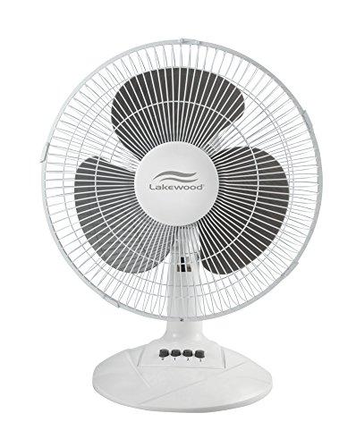 Lakewood - 12-Inch Three-Speed Oscillating Desk Fan, Metal/Plastic, White LDF1210B-WM (DMi EA by Lakewood - Metal Supply Grille