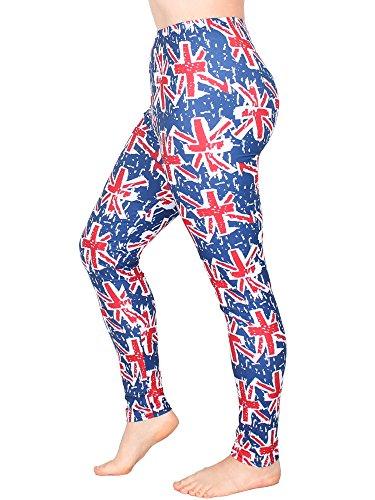 Leggins Damen Leggings leggings mit Muster bunt schwarz weiß elastisch 455 lang 4