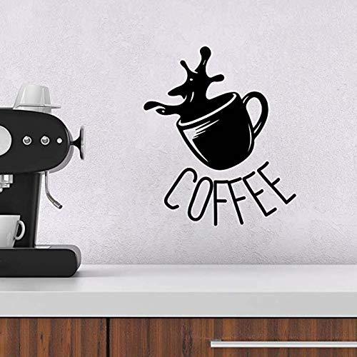 guijiumai Kaffeetasse Zeichen Entfernbare Wandaufkleber für Küche Wohnkultur Vinyl Aufkleber Mode Wohnzimmer Kunst Poster Wandbilder 57X48 cm