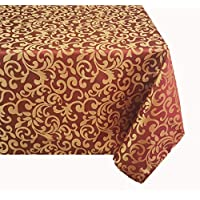 "TEKTRUM 60 X 102 INCH 60""X102"" RECTANGULAR POLYESTER DAMASK TABLECLOTH - THICK/HEAVY DUTY/DURABLE FABRIC (Burgundy)"