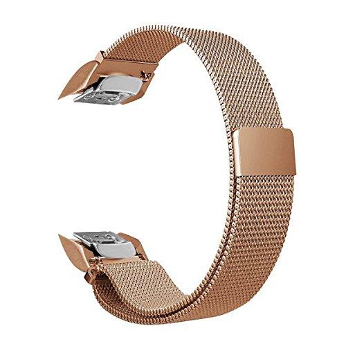Baoking Samsung Gear Fit 2 PRO Bands,Cinturino in Metallo con Cinturino in Acciaio Inossidabile con Chiusura Magnetica per Samsung Fit 2 SM-R360/SM-R365(Oro Rosa 16.5-24cm)