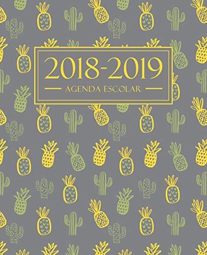 Agenda escolar 2018-2019: 190 x 235 mm: Agenda 2018-2019 semana vista español: 160 g/m²: Agenda semanal 12 meses: Cactus y piñas 4503 por Papeterie Bleu