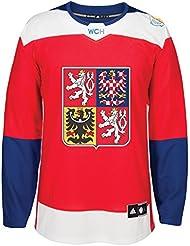 Team Czech Republic 2016World Cup of Hockey Adidas Men 's Premier Red Jersey Camiseta, small