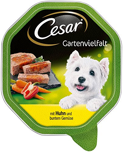 Cesar Hundefutter Nassfutter Gartenvielfalt Huhn & Gemüse, 7 er Pack, (7 x 2 Schalen x 150 g) - 2