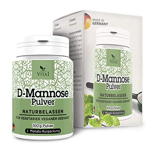 VITA1 D-Mannose Pulver • diätetische Behandlung gegen Blasenentzündung • 100g (2 Monatspackung) • rein und naturbelassen & vegan und frei von Zusatzstoffen • Hergestellt in Deutschland