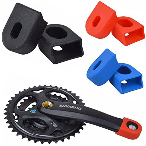 Celtics 2 Paar Mountain Bike Silikon Kurbel Arm Displayschutzfolie Schutzhülle Gap Fixie Kettenradgarnitur Cycle, Black 2 Pairs -