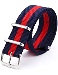 AMPM24 20mm Blue & Red Militray Nylon For Men Lady Watch Band Straps Watchbands