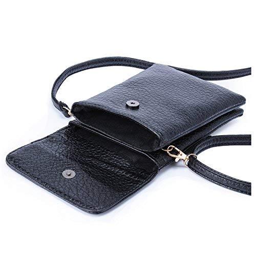 Mini Schultertasche Damen, Kleine Handytasche Telefontasche PU Leder Handtaschen Geldbörsen Handy Umhängetasche für Frauen Mädchen Cellphone + Hengying Schlüsselanhänger (Schwarz)