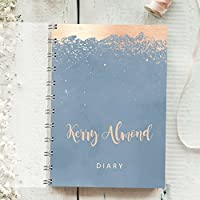 Personalised Diary Splatter Rose. Any Month Start, 1 Year Journal Planner. Choose year 2017,2018,2019 Choice of layouts. Week to Page, Week to View or 2 days one Page. Organiser