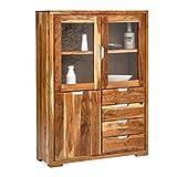 VISION 2833 Highboard mit 2 Glas / 1 Holztür, 4 Schubladen, Holz, natur,  40 x 118 x 160 cm