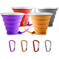 SENHAI 4 pcs Collapsible Travel Cup with Lid, Portable Silicone Multi-function Retractable Cup for Hiking Camping Picnic…