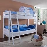 Relita BE3032317-B90+TX5072048 Etagenbett STEFAN, Maße 208 x 160 / 230 x 98 / 143 cm, Liegefläche 90 x 200 cm, Buche massiv weiß lackiert