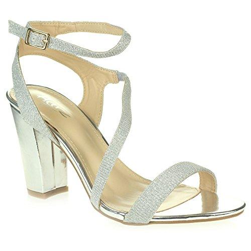 Femmes Dames Diamante Soir Mariage Fête Bal de promoHaute Bloquer le talon Enveloppe à la cheville Des sandales Chaussures Taille Argent
