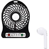 Raptas USB Fan Portable Rechargeable Mini USB Fan and Single I7 Mini Bluetooth Earbud Single Wireless Invisible Bluetooth Headphones with Mic