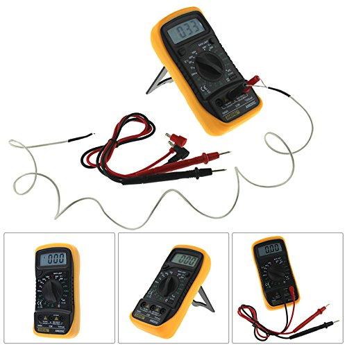 Multimètre Numérique Portable, Greencolourful AN8205C multimètre electronique jaune Digital Thermomètre à main Multimètre Voltmètre Ampèremètre AC DC OHM Volt Testeur de température