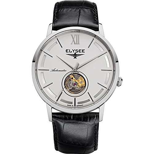 Elysee Men's Picus 41.5mm Automatic Watch Black Leather Strap Saphire 77010