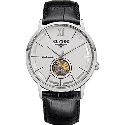 Elysee Picus Uomo 41.5mm Cinturino Pelle Nero Saphire automatico orologio 77010
