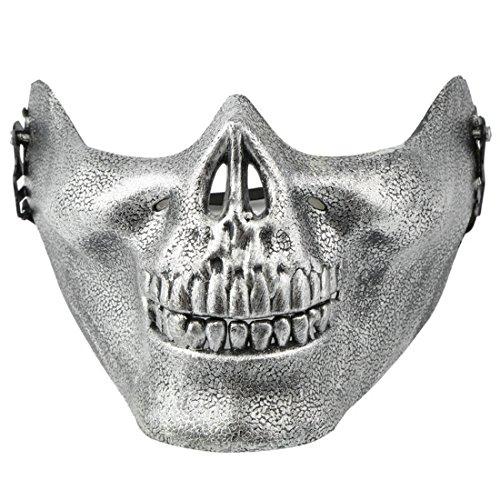 (Halb-Gesichtsschutzmaske für Halloween, Schädel-Skelett silber)