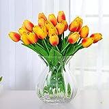 Amkun 10 Pcs Realistic PU Artificial Holland Tulip Flowers Life-like Faux Bouquet Arrangements for Home Kitchen Living Room Dining Table Wedding Centerpieces Decorations (Orange)