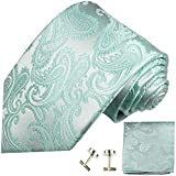 Paul Malone Krawatten Set 3tlg 100% Seide hell türkise paisley (Normallänge, Extralang oder schmal), Blau, 150cm - Normallänge