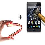 WoowCase | Flexible Gel Schutzhülle für [ Ulefone Paris ] [ +1 Schutzglas ] Hartglas, Ulefone Paris Hülle Case TPU Silikon in Rot
